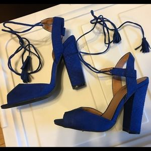 Qupid Blue Suede Lace up Heels